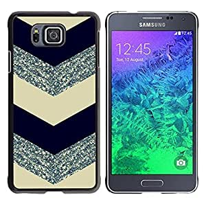 Caucho caso de Shell duro de la cubierta de accesorios de protección BY RAYDREAMMM - Samsung GALAXY ALPHA G850 - Glitter Silver Black