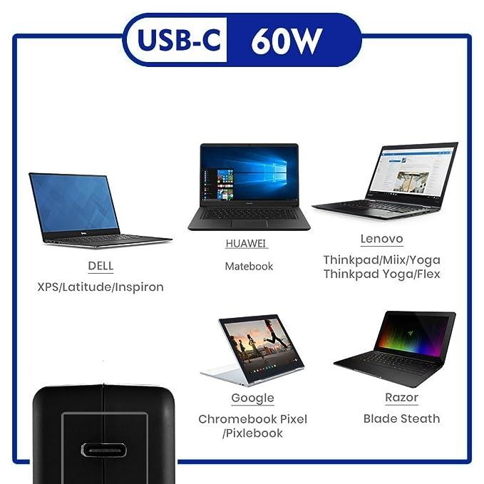 USB Tipo C PD Cargador de Pared Adaptador de Carga rápida para Macbook DELL XPS XiaoMi Razer Blade Stealth Thinkpad X1 Yoga: Amazon.es: Electrónica