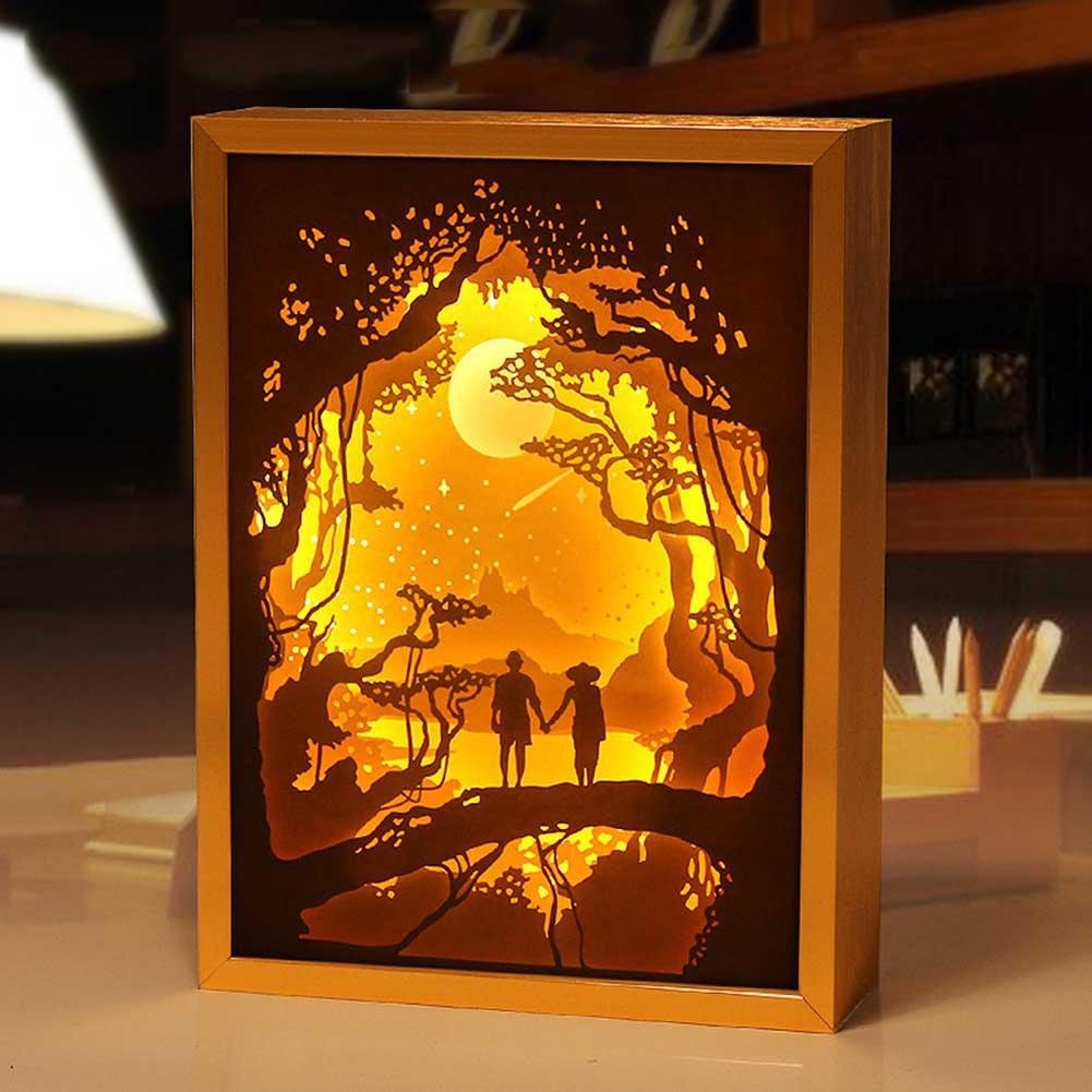 LED Night Lamps Paper carved light, AOKOALA 3D Metal Bedside Lamp/Bedroom light,USB Bedroom Decorative lights , Gold