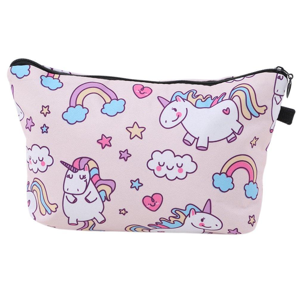 Myhouse Unicorn Printed Women Cosmetic Makeup Bag Multifuncition Toiletry Bag (Light Pink)