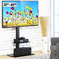 Fitueyes Floor TV Stand Swivel Mount Height Adjustable Bracket VESA Patterns up to 600mm x 400mm 32 to 65 inch LCD, LED OLED TVs TT206502GB