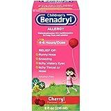 Children's Benadryl Allergy Liquid with Diphenhydramine HCl in Kid-Friendly Cherry Flavor, 8 Fl Oz (Pack of 2)