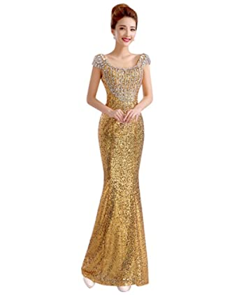 7ebbd7bb Drasawee Women's Full Sequins Prom Party Evening Dress Mermaid Formal Gowns  Gold US0