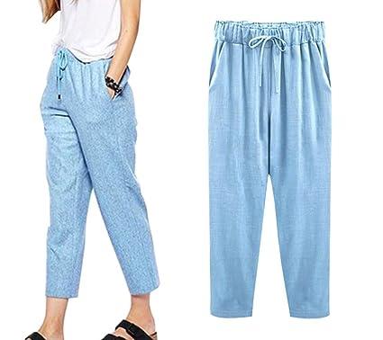 acheter réel bons plans sur la mode achats Minetom Pantacourt Femme Été Causal Coton Lin Ample Pantalon Fluide  Confortable 7/8 Longueur Léger Cordon Élastique Sport Yoga Pants