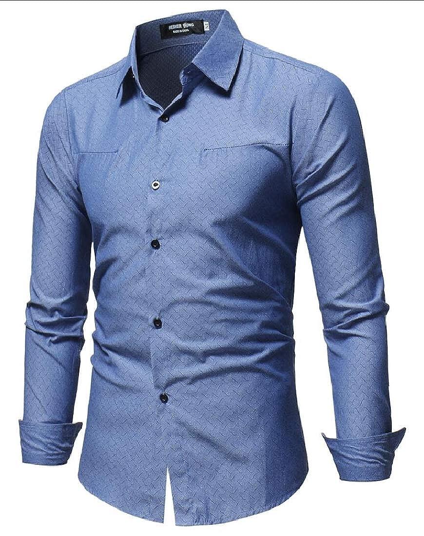 UNINUKOO Unko Mens Regular-Fit Button Down Long Sleeve Tunic Dress Shirts