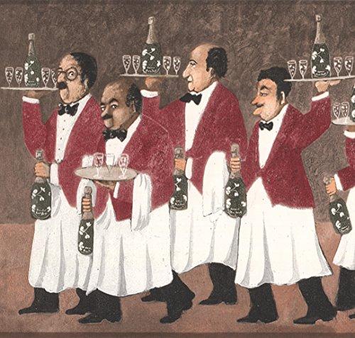 Camareros con bandejas de champaña y anteojos en de ancho café cenefa diseño Retro, rollo 15'x 25,4cm