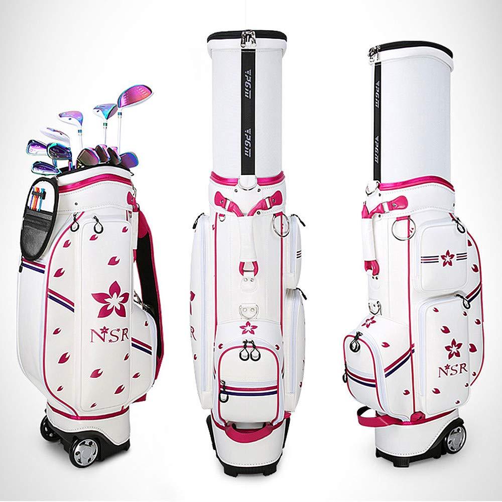 超軽量ゴルフバッグ、高品質防水バッグ、多機能伸縮ボールキャップ、白とピンク、タグボートエアゴルフバッグ B07SRY5RBC Pink