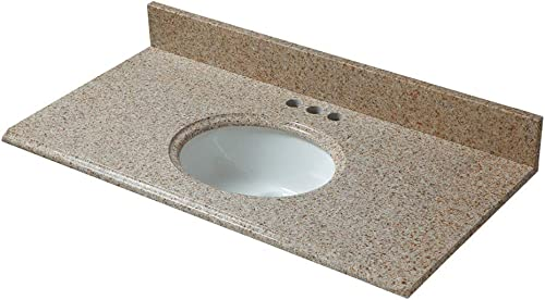 CAHABA CAVT0135 37 x 19 Beige Granite Vanity Top with oval bowl and 4 faucet spread