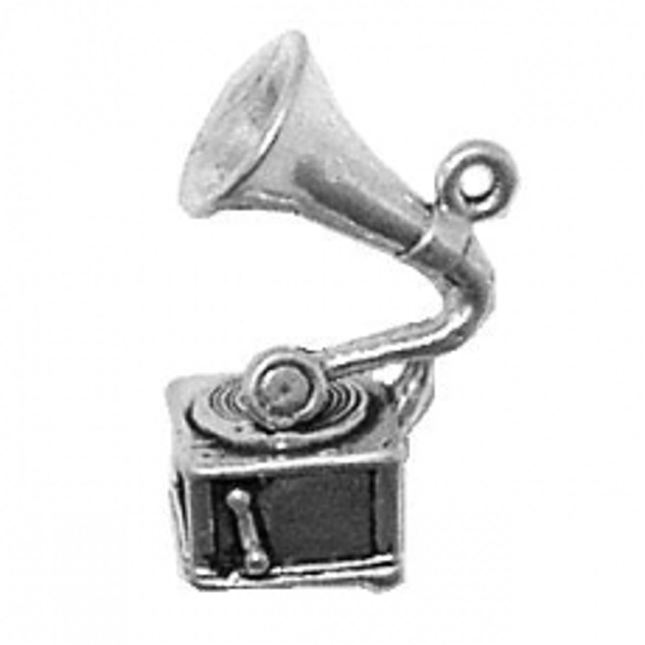 Sterling Silver Womens 1mm Box Chain 3D Handcrank Phonograph Gramophone Record Player Pendant Necklace