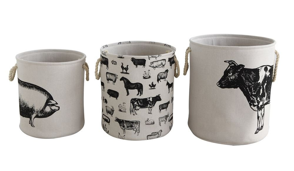 Creative Co-op Canvas Hamper Baskets Set with Farm Animals