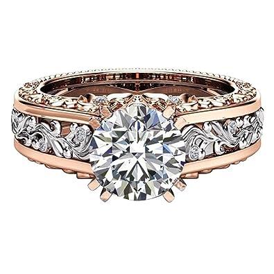 Amazon Com Caopixx Jewelry Rings 2018 Ladies Color Separation Rose