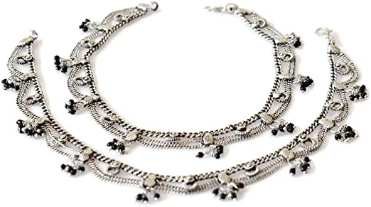 Anklet Pair Chain Bell Tassel Handcrafted Boho Gypsy Goth Hippie Festival Vintage Style Ankle Bracelet Feet Jewelry Indian Payal Metallic Silver Oxidized Finish Womens Novelty Fashion Accessory