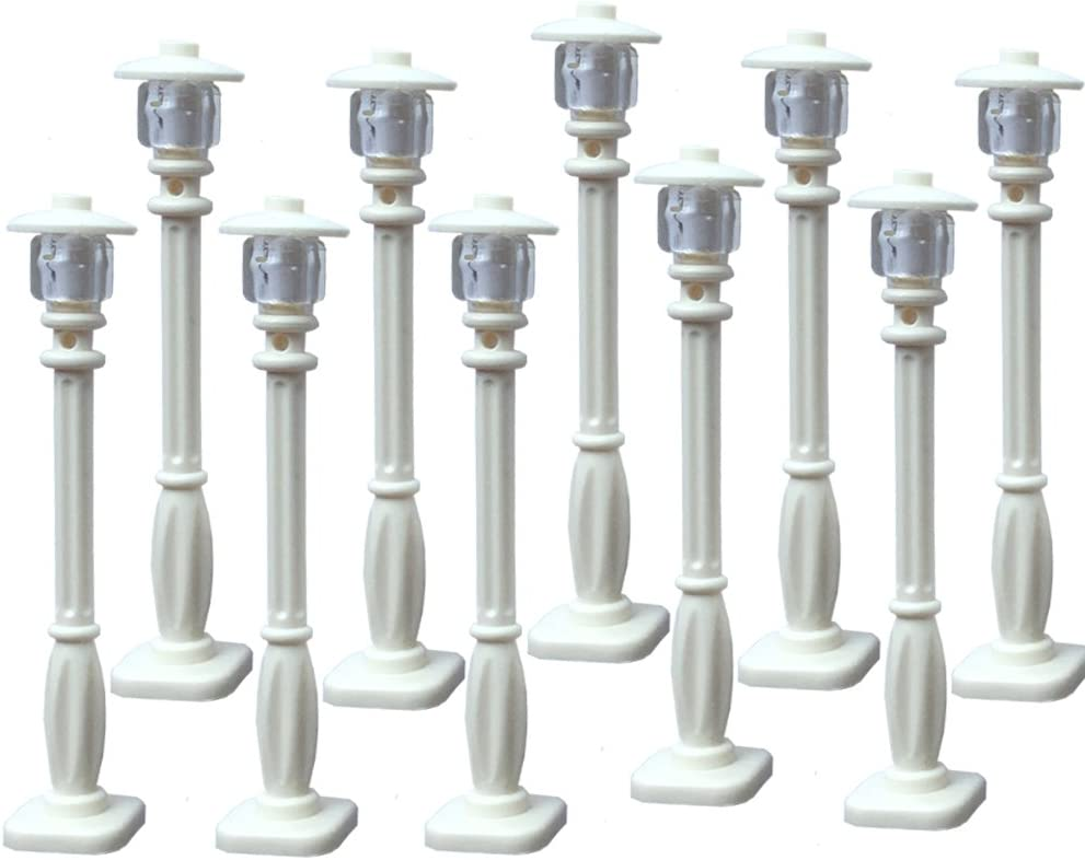 White Post with Clear Bulb /& White Cover Compatible With Major Brands Taken All Building Block Street Lamp Set of 10