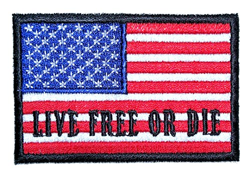 Leather Supreme Patriotic Live Free Or Die American Flag Biker Patch-Red-Small