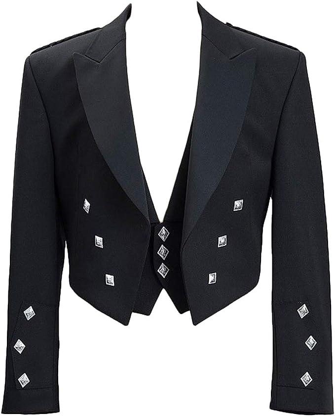 Perfect for Wedding New Mens Black Prince Charlie Kilt Jacket and Coatee Vest