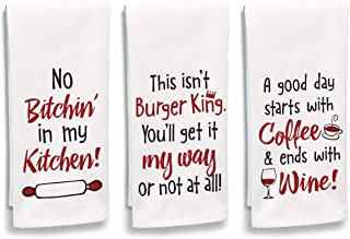 """product image for Imagine Design Relatively Funny No Bitchin', This Isn't Burger King, Good Day Starts with Coffee, 3-Pk Assort Heavy Weight 100% Cotton Kitchen Towels, 18"""" x 28"""", Red/Black/White"""