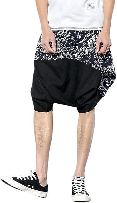 Pantalones Harem Hombre Mujer Elegantes Vintage Floreadas Pantalones Casual Modernas De Linterna Shorts Verano Fashion Elastische Taille Anchas Casual Hippie Pluderhose Pantalones Aladdin Pantalones Amazon Es Ropa Y Accesorios