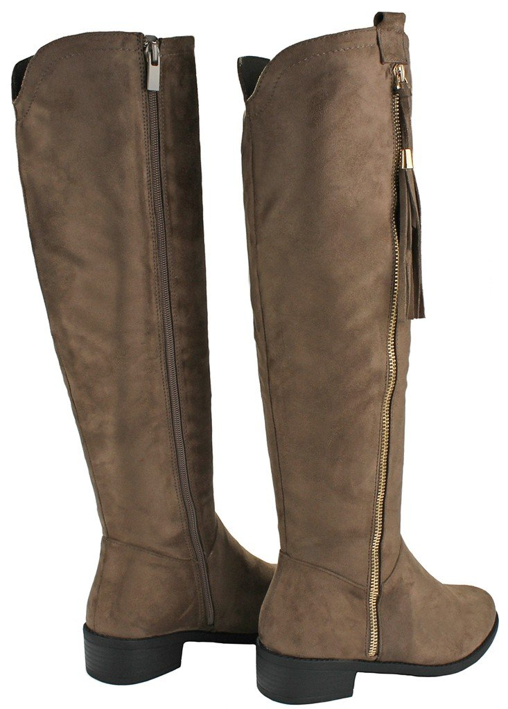 JJF Shoes Women Greta1 Taupe Tassel Faux Suede Gold Decorative Zip Quilted Knee High Boots-7.5 by JJF Shoes (Image #4)