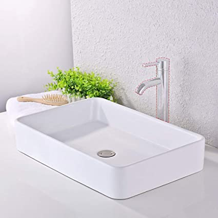 Genial KES Bathroom Sink, Vessel Sink 24 Inch Porcelain Rectangular White Above  Counter For Lavatory Vanity Cabinet Contemporary Style, BVS113      Amazon.com