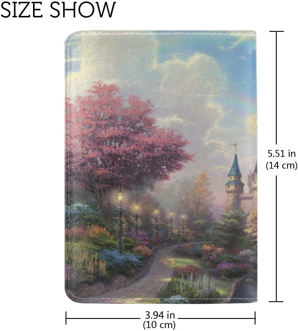 Disneyland Park Art Fairy Painting Leather Passport Holder Cover Case Travel One Pocket