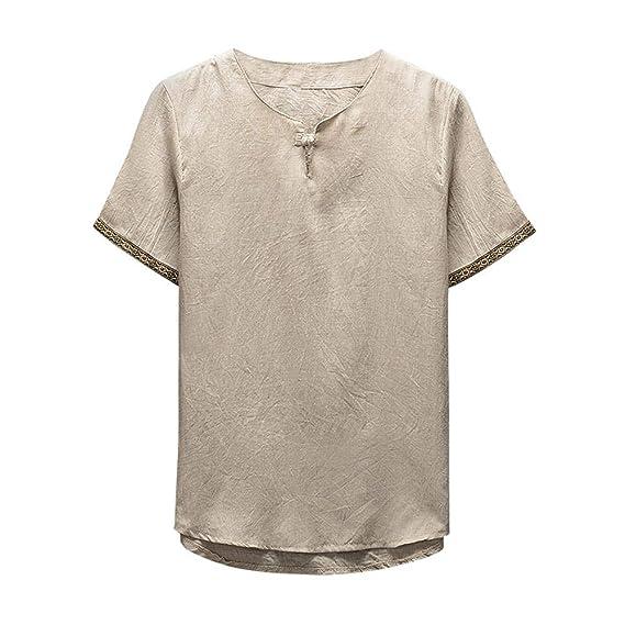 0d65452c9fe8 Herren T Shirt Top Sommer Basic Baumwolle Leinen Kurzarm Shirt Loose Fit T- Shirt Zhen+ Männer Mode Casual Chinese Wind Druck Kurzarmshirt Tee Bluse ...
