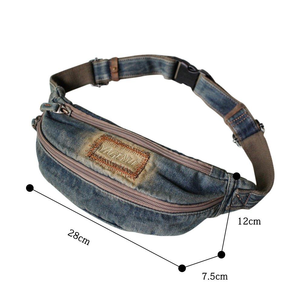 Garyesh Denim Waist Bag Pack for Man Women Casual Vintage Chest Bag for Workout Sport