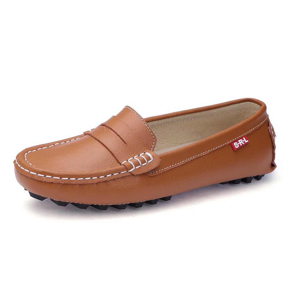 SUNROLAN 818-2zong8.5 Casual Women's Genuine Leather Penny Loafers Driving Moccasins Slip-On Boat Flats Shoes (8.5 B(M) US, Light Brown)