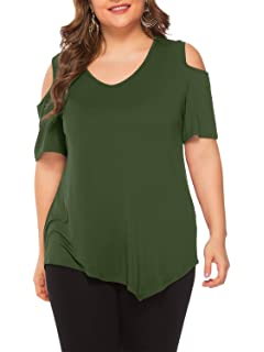 0a492f7c86681 Amoretu Women s Plus Size Tops Short Sleeve Criss Cross Front V Neck ...