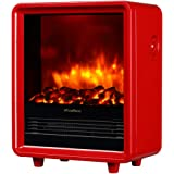 """PuraFlame 12"""" Octavia Portable Electric Fireplace Heater, 1500W, Red"""