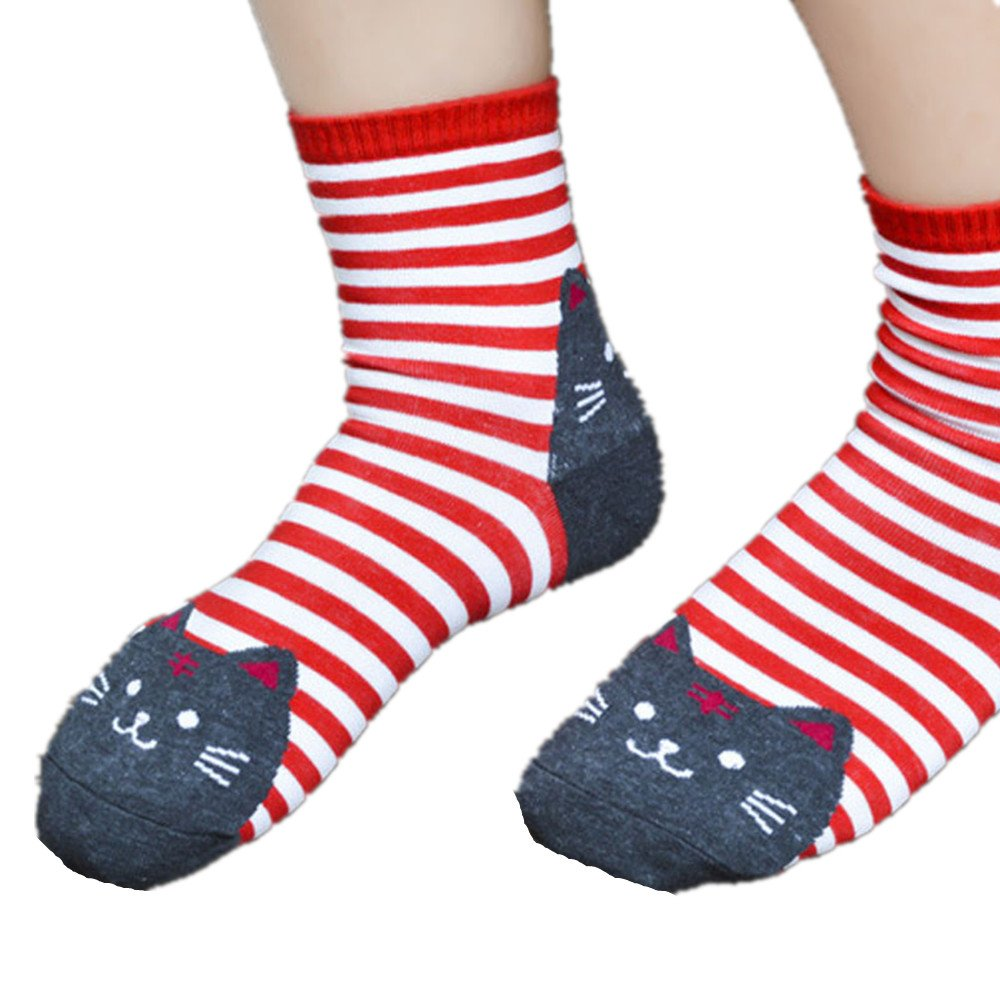 Baomabao Women 3D Animals Striped Cartoon Socks Cat Footprints Cotton Socks (Red)