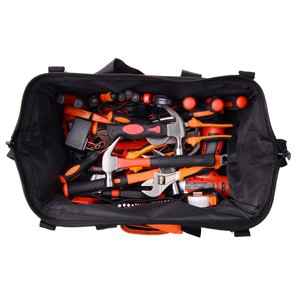 17-Inch Water Proof Multi-Compartment Pocket Tradesmans Wide Mouth Storage Tool Bag with Adjustable Shoulder Strap Bag