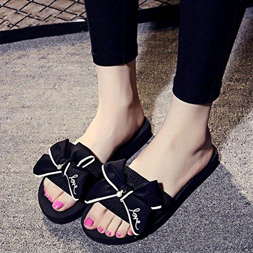 Fille Noir Avec Plateforme femme Confort Minetom Chausson de Sandales Bowknot Été Bohême Tongs Chaussures Plage Compensées YZqE7wq