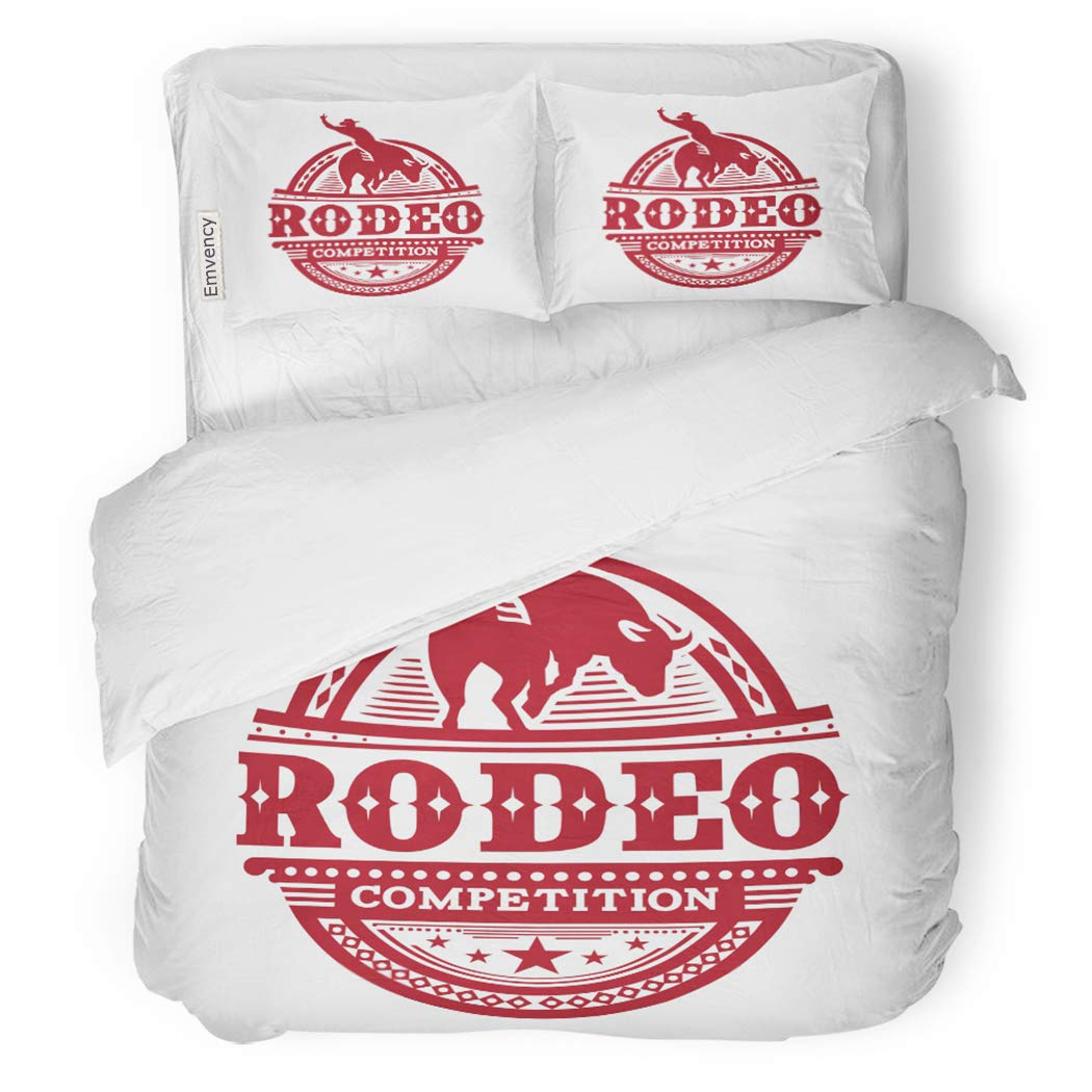 SanChic Duvet Cover Set Cowboy Rodeo Competition Vintage America Animal Boy Bronco Decorative Bedding Set with 2 Pillow Shams King Size