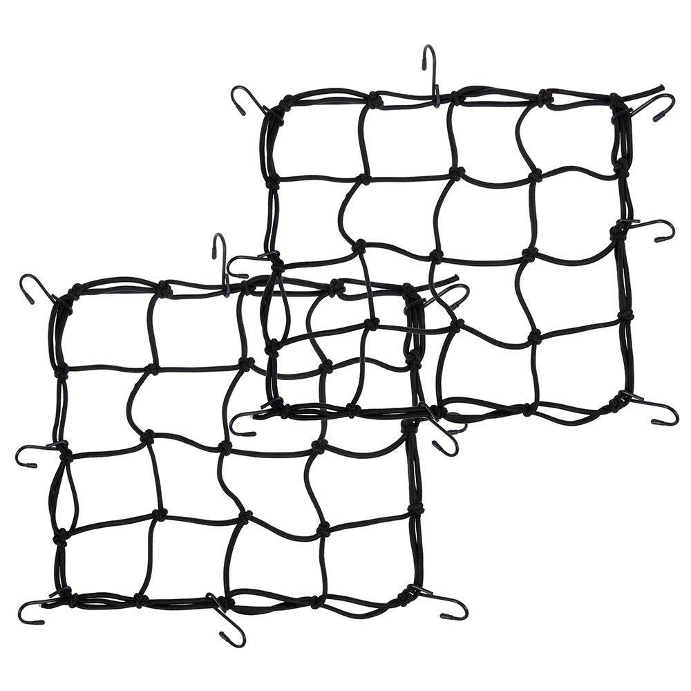 Zacro 2pcs Filet à Bagages (35cm * 35cm) Araignée Elastique avec 8 Crochets pour Moto/Scooter Filet de Moto pour Fixer Baggage/ Casque/ Ballon/ Cartable/ Objets (Noir)