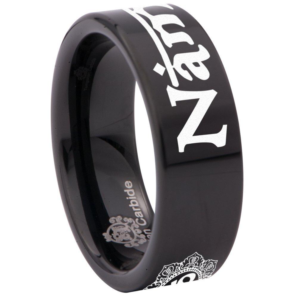 Friends of Irony Tungsten Carbide Namaste Ring Wedding Band Anniversary Ring for Men and Women 8mm