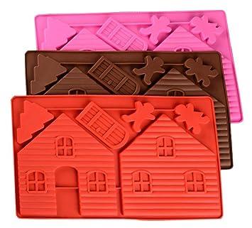 luvcals navideño de casita de jengibre molde de silicona Fondant Cake Herramientas de decoración de chocolate para hornear molde de pastel de postre A ...