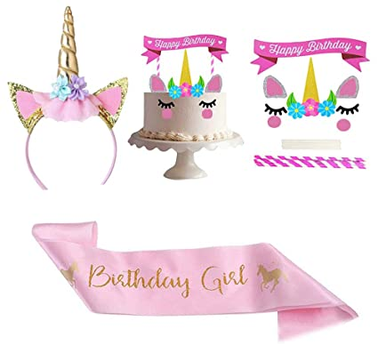 Amazon.com 3 Pcs Unicorn Birthday Girl Set Unicorn Cake