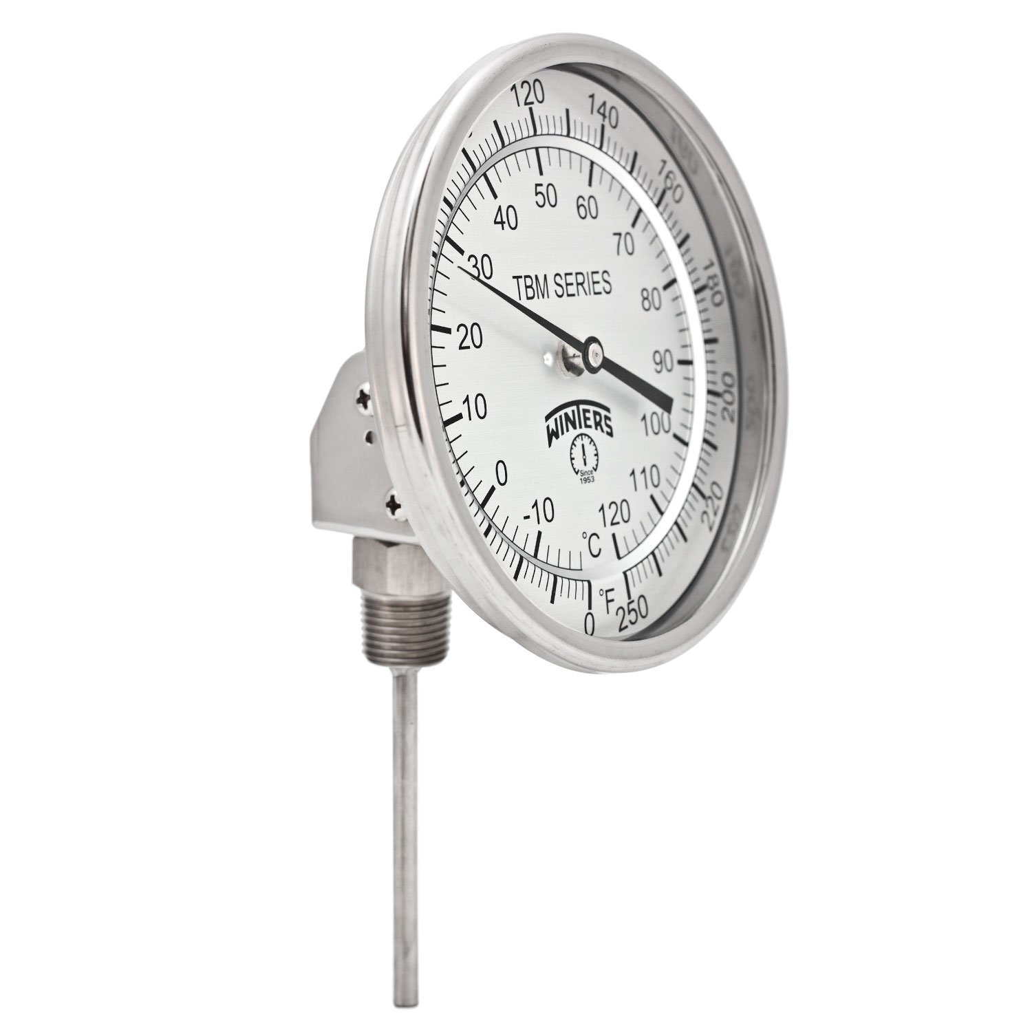 Winters TBM Series Stainless Steel 304 Dual Scale Bi-Metal Thermometer, 4'' Stem, 1/2'' NPT Adjustable Angle Connection, 5'' Dial, 0-250 F/C Range