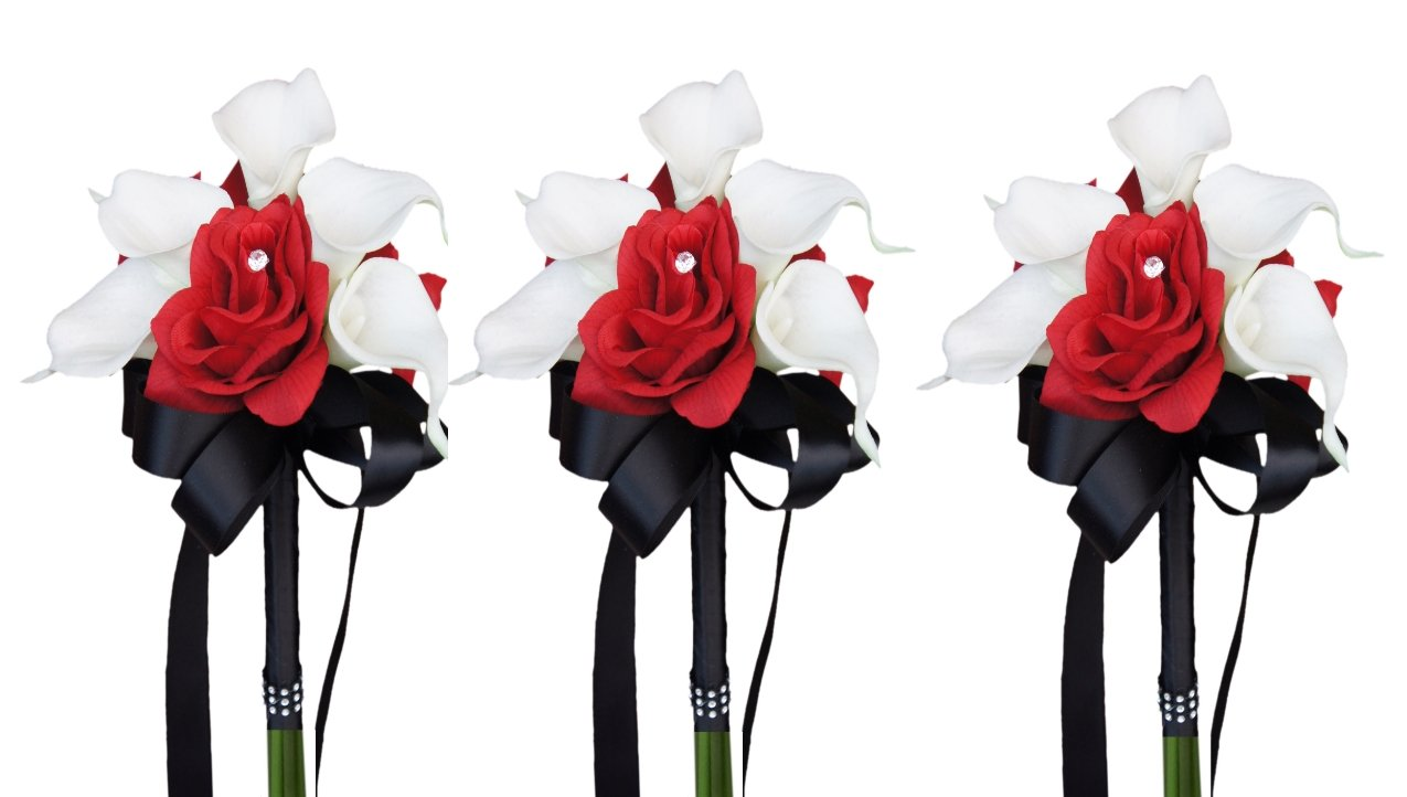Set of 3 Wedding Bouquets : Flower Girl Toss Apple Red Rose Calla Lily Wedding Flowers by Angel Isabella