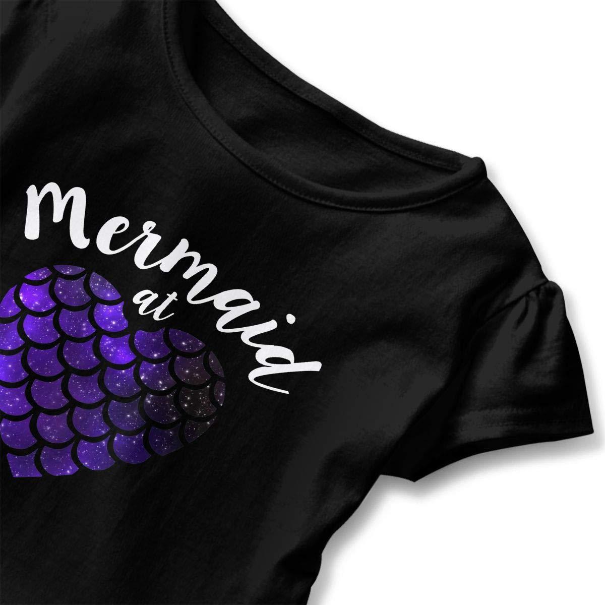 Mermaid at Heart Toddler Baby Girls Cotton Ruffle Short Sleeve Top Comfortable T-Shirt 2-6T