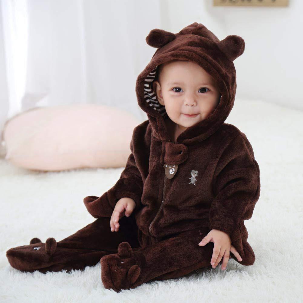 BOBORA Baby Romper Cute Warm Winter Flannel Hoodie Newborn Infant Toddler Jumpsuit Bodysuit Footies