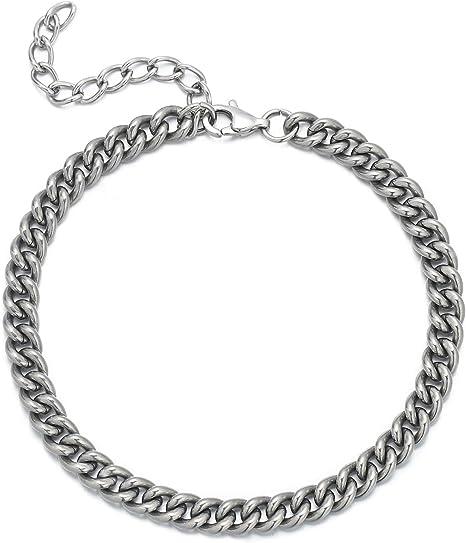 "10/"" Cuban Link Chain Anklet Bracelet Anubis Charm Ankle Bracelet 14k Gold Plated"