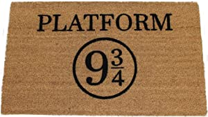 Platform 9 3/4 Harry Potter Doormat (18Wx30L), Black graphic on Natural Coir Doormat