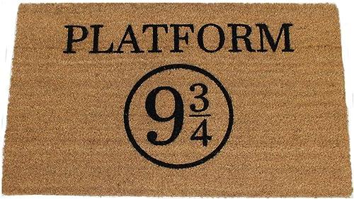 Platform 9 3 4 Harry Potter Doormat 18Wx30L , Black graphic on Natural Coir Doormat
