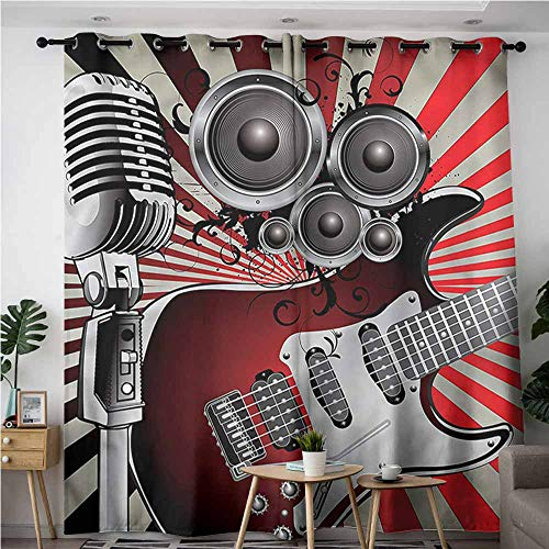 XXANS Indoor/Outdoor Curtains,Music,Old Vintage Loudspeaker,Blackout Window Curtain 2 Panel,W72x96L