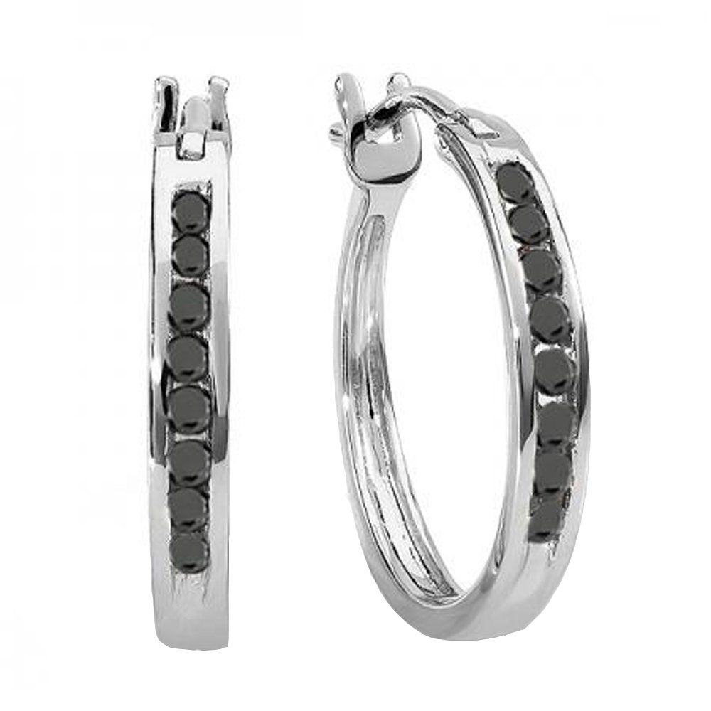 0.20 Carat (ctw) 10K White Gold Round Black Diamond Ladies Fine Hoop Earrings 1/5 CT by DazzlingRock Collection (Image #1)