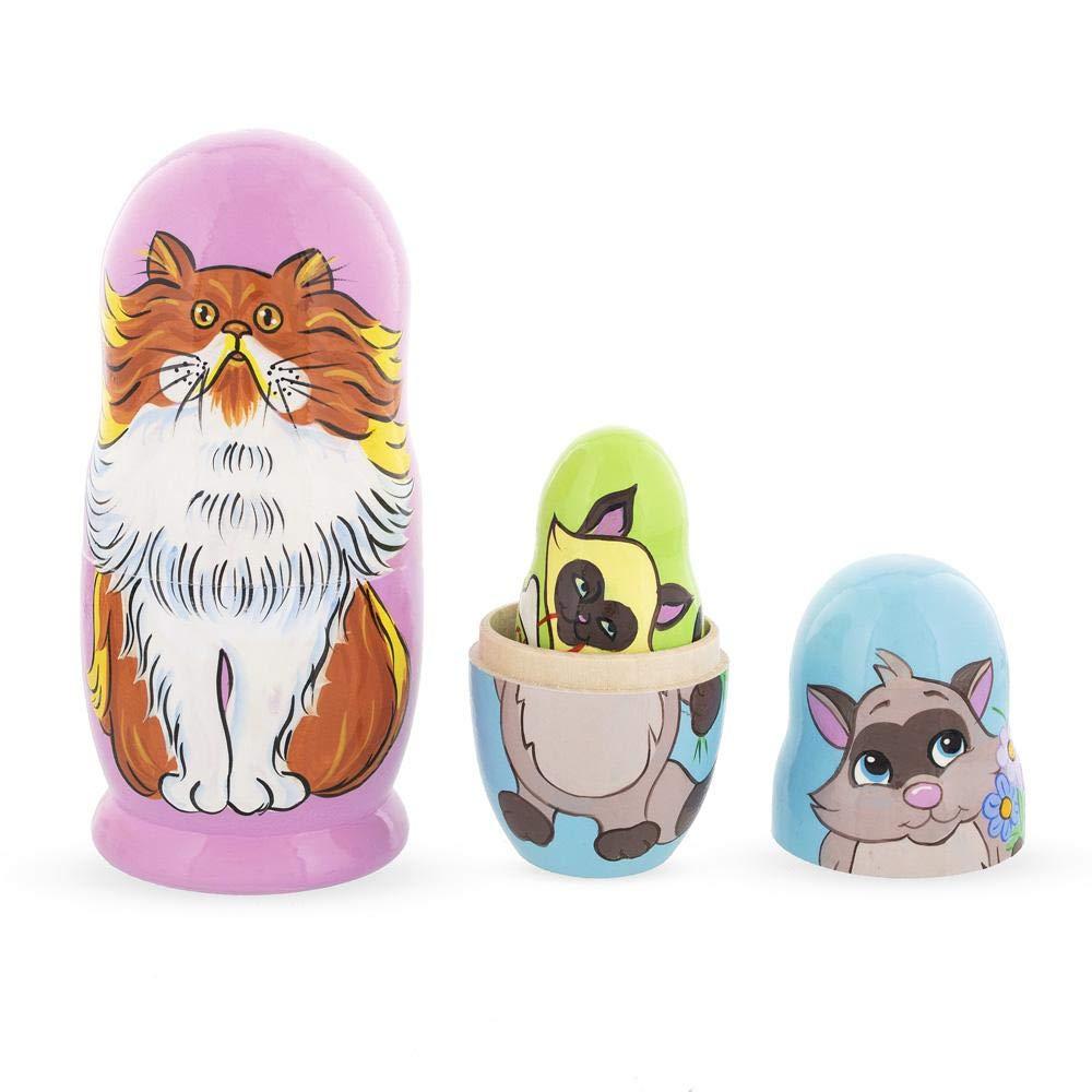 BestPysanky Set of 5 Colorful Cats Wooden Nesting Dolls by BestPysanky (Image #4)