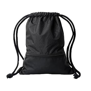 Candora cordón mochila, bolsa, mochila y bolsillo con cremallera y cordones gruesos extra para hombres y mujeres. Escuela Niños Kit de polietileno ...