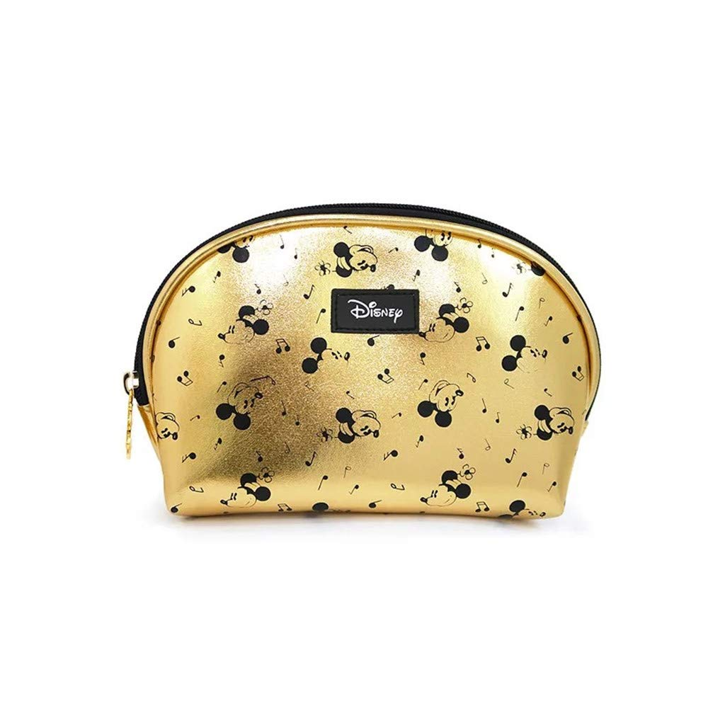 Mickey Mouse Cosmetics Bag Gold Leather Storage Bag Make-up Travel Organizer