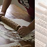 39cm Wood Rolling pin Engraved Non-Stick Rolling pins for Cookies,Pasta, Cookie Dough, Pastry, Bakery, Pizza, Fondant, Chapati